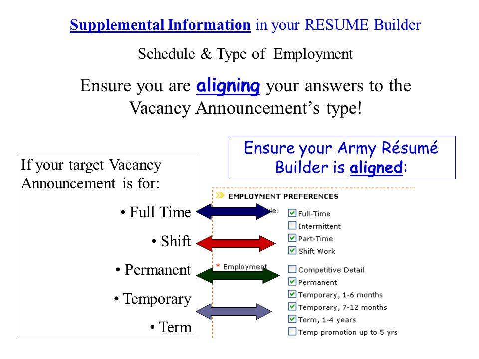 Supplemental Information in your RESUME Builder Schedule & Type of Employment Ensure you are aligning your answers to the Vacancy Announcements type.