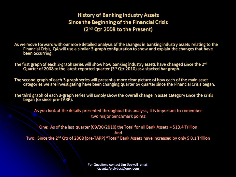 For Questions contact Jim Boswell--email: Quanta.Analytics@gmx.com History of Banking Industry Assets Since the Beginning of the Financial Crisis (2 nd Qtr 2008 to the Present) As we move forward with our more detailed analysis of the changes in banking industry assets relating to the Financial Crisis, QA will use a similar 3-graph configuration to show and explain the changes that have been occurring.