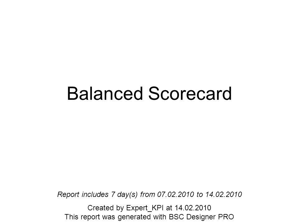 Balanced Scorecard Overview Balanced Scorecard The default project filled with random data.