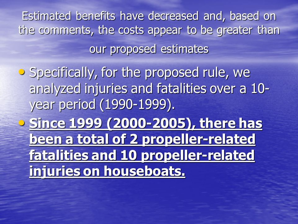 Number of Propeller Related Fatalities and Injuries (Proposed Rule vs.