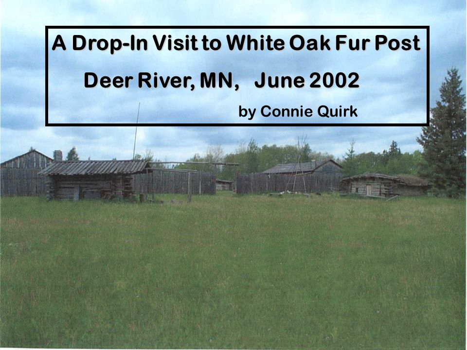 A Drop-In Visit to White Oak Fur Post Deer River, MN, June 2002 Deer River, MN, June 2002 by Connie Quirk
