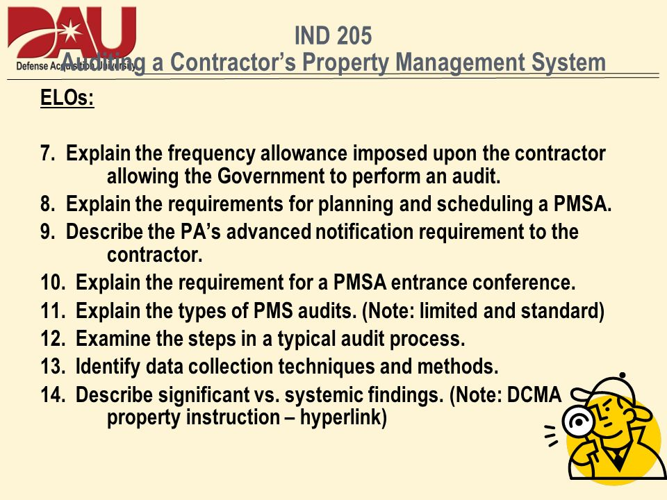 IND 205 Auditing a Contractors Property Management System ELOs: 7.