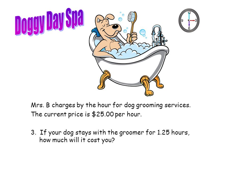 Mrs. B charges by the hour for dog grooming services.