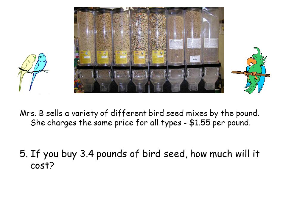 Mrs. B sells a variety of different bird seed mixes by the pound.