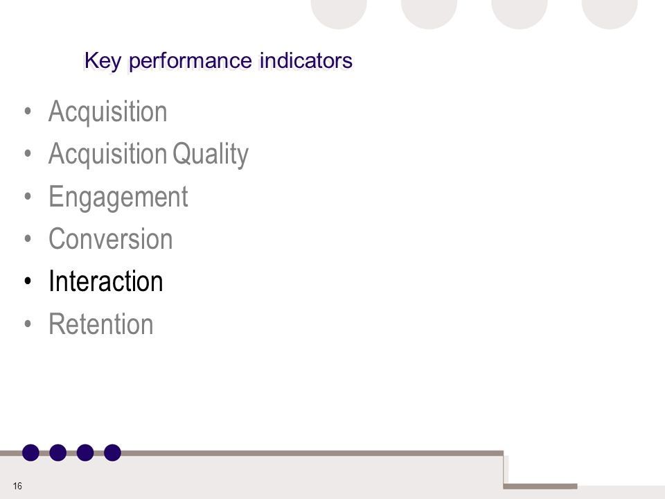 16 Key performance indicators Acquisition Acquisition Quality Engagement Conversion Interaction Retention