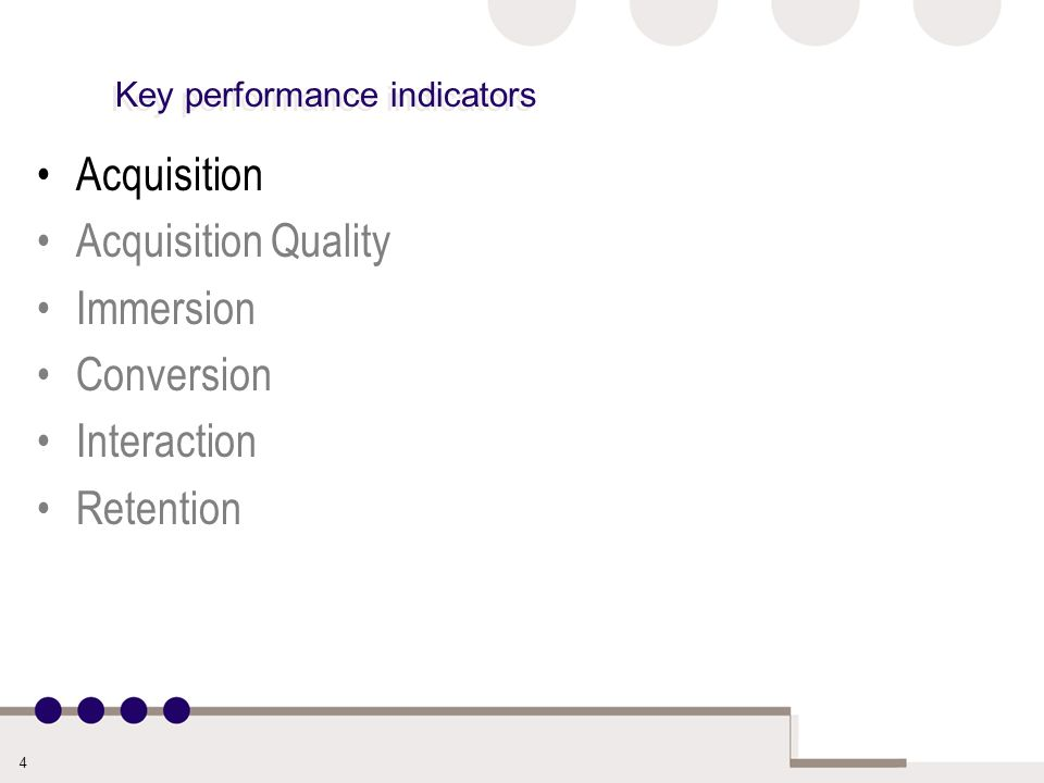 4 Key performance indicators Acquisition Acquisition Quality Immersion Conversion Interaction Retention