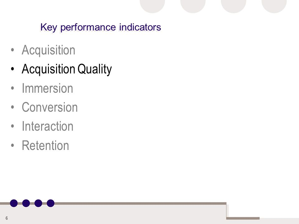 6 Key performance indicators Acquisition Acquisition Quality Immersion Conversion Interaction Retention