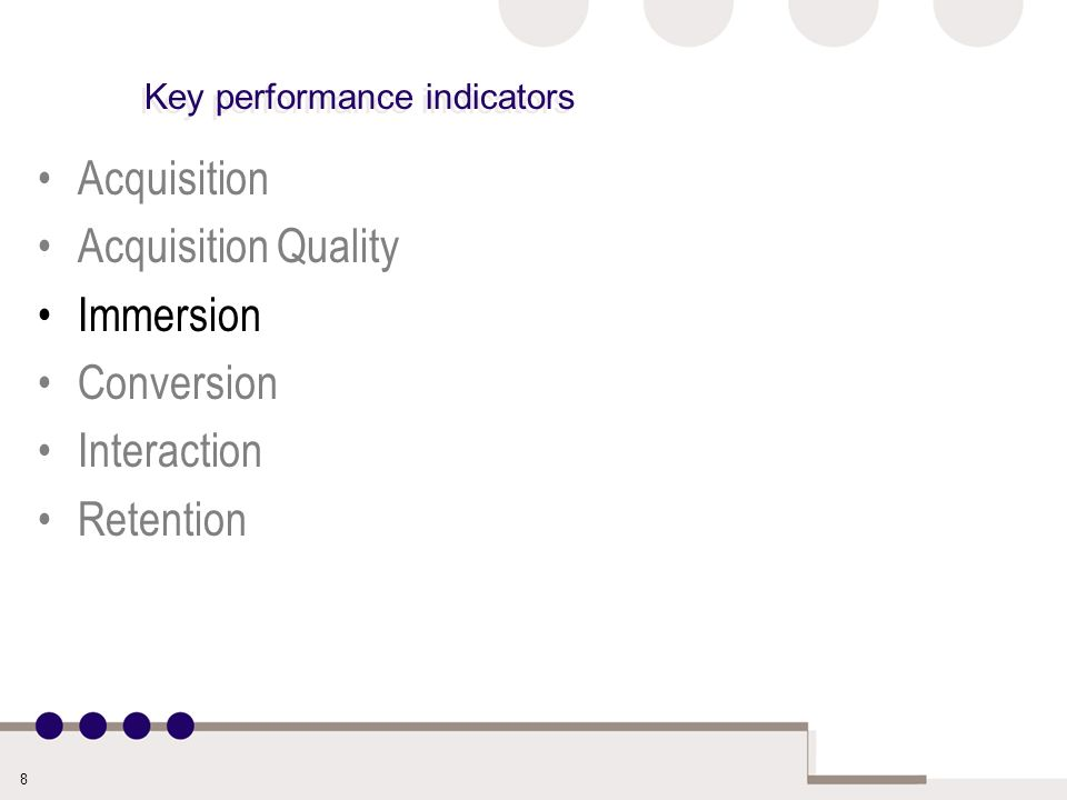 8 Key performance indicators Acquisition Acquisition Quality Immersion Conversion Interaction Retention