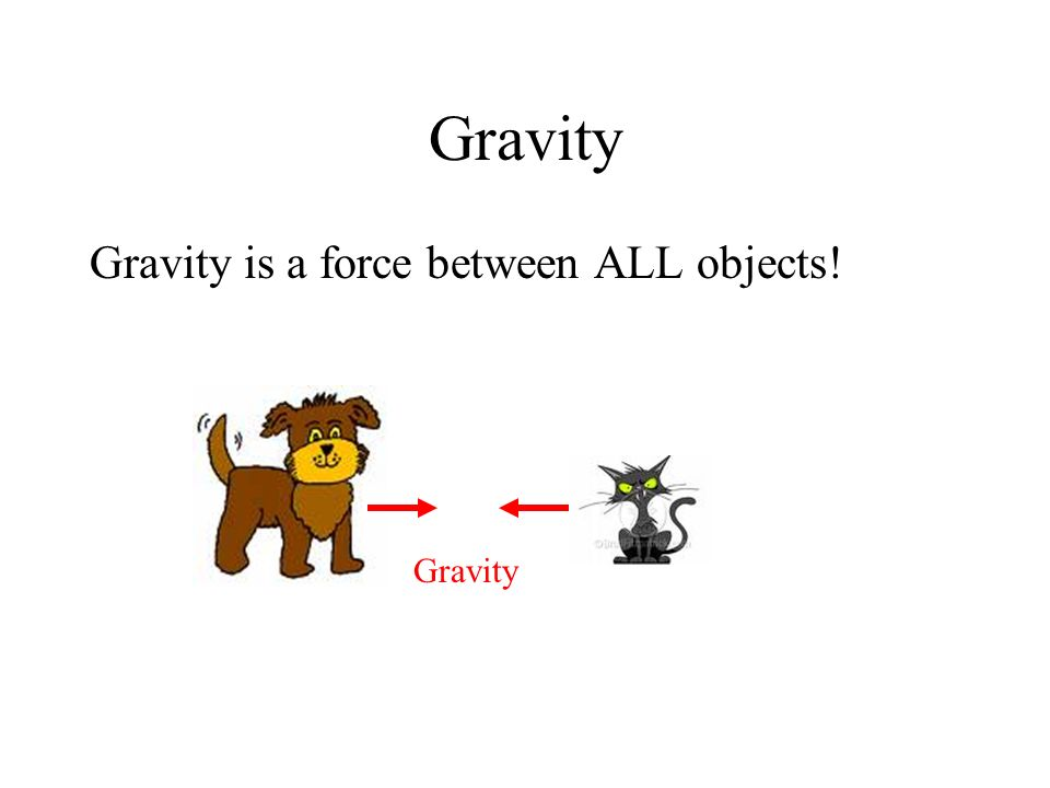 Gravity Gravity is a force between ALL objects! Gravity