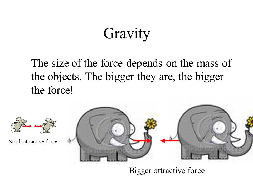 Gravity The size of the force also depends on the distance between the objects.
