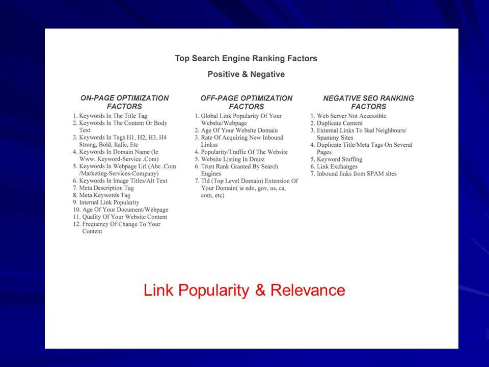 Link Popularity & Relevance