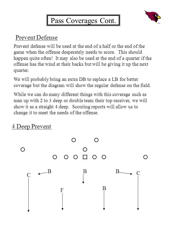 Pass Coverages Cont. Prevent Defense Prevent defense will be used at the end of a half or the end of the game when the offense desperately needs to sc