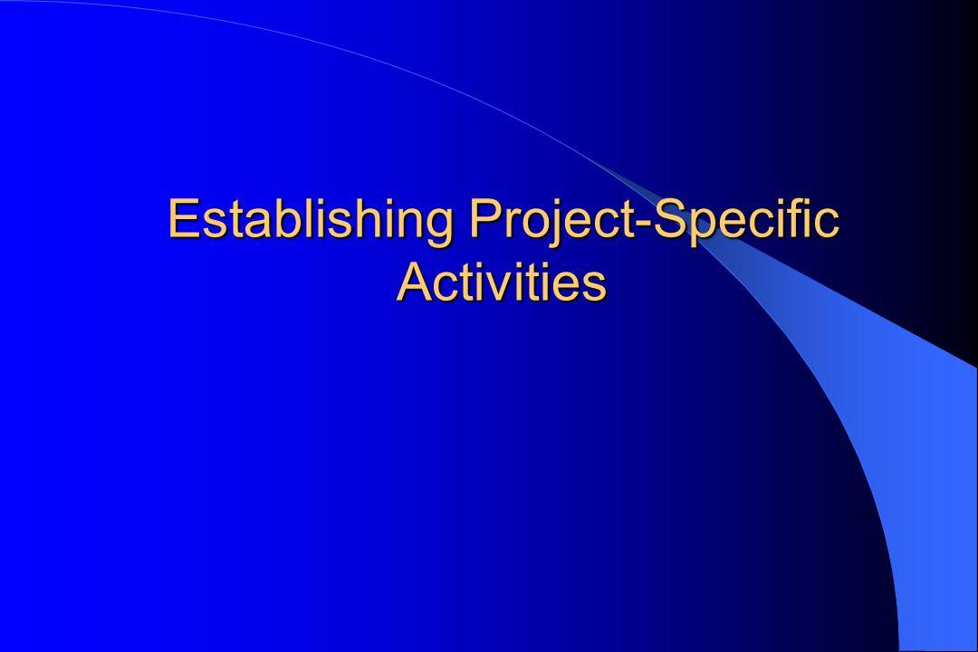 Establishing Project-Specific Activities