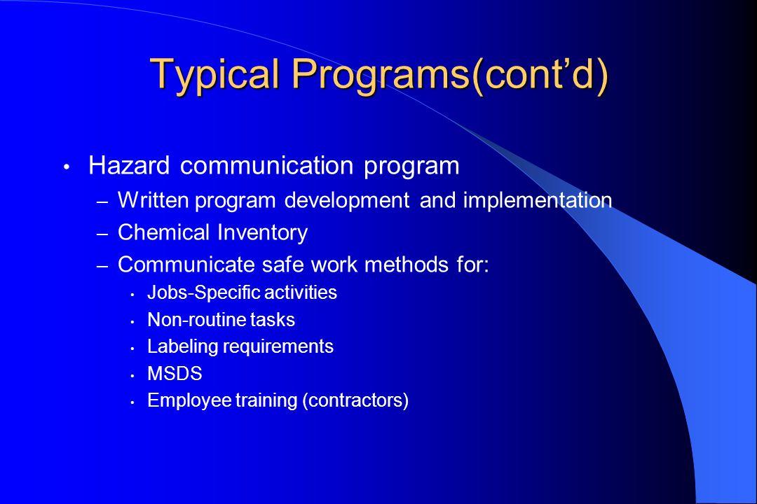 Typical Programs(contd) Hazard communication program – Written program development and implementation – Chemical Inventory – Communicate safe work met