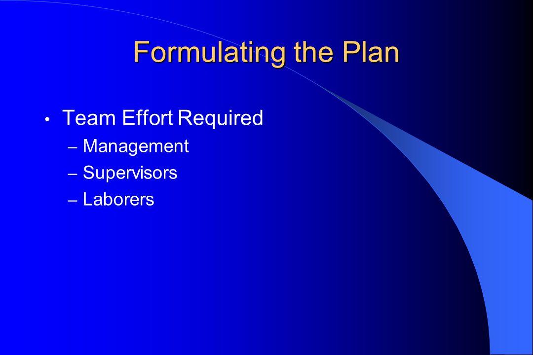 Formulating the Plan Team Effort Required – Management – Supervisors – Laborers
