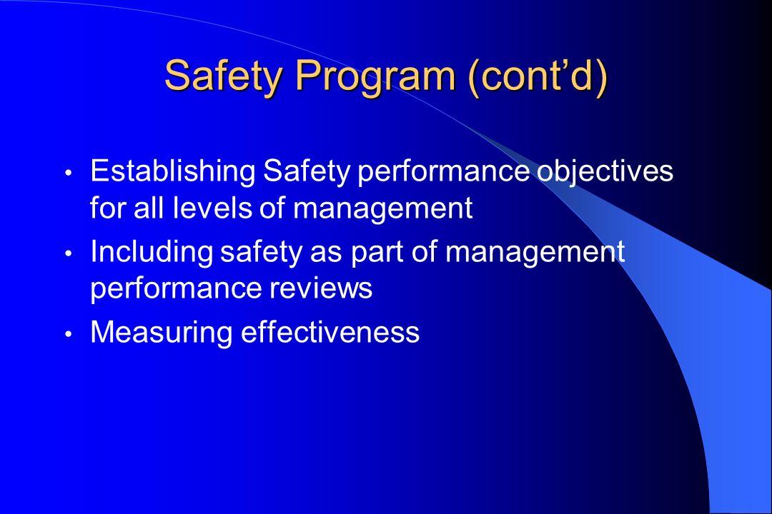 Safety Program (contd) Establishing Safety performance objectives for all levels of management Including safety as part of management performance revi