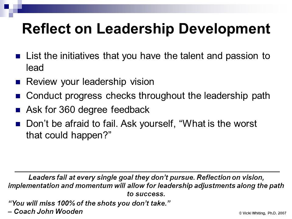 Reflect on Leadership Development List the initiatives that you have the talent and passion to lead Review your leadership vision Conduct progress checks throughout the leadership path Ask for 360 degree feedback Dont be afraid to fail.