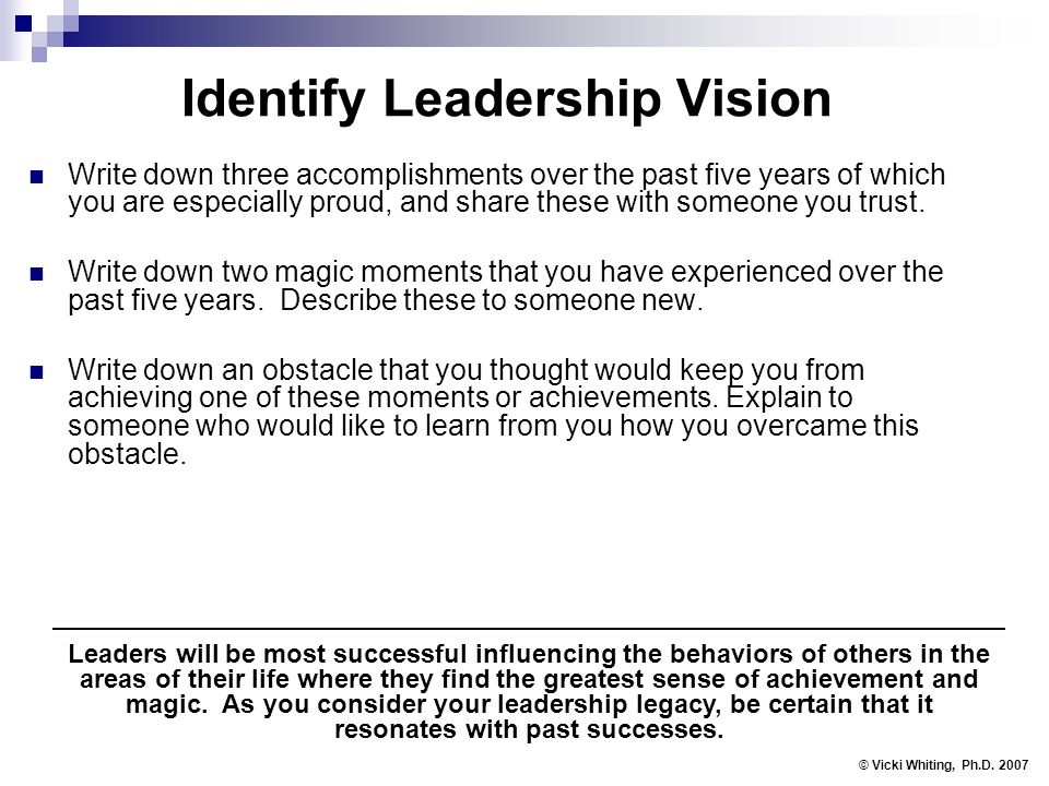 Identify Leadership Vision Write down three accomplishments over the past five years of which you are especially proud, and share these with someone you trust.