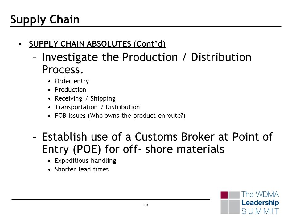 9 Supply Chain SUPPLY CHAIN ABSOLUTES (Contd) –Build a project plan to document all the initiatives that will be undertaken. Work breakdown structure