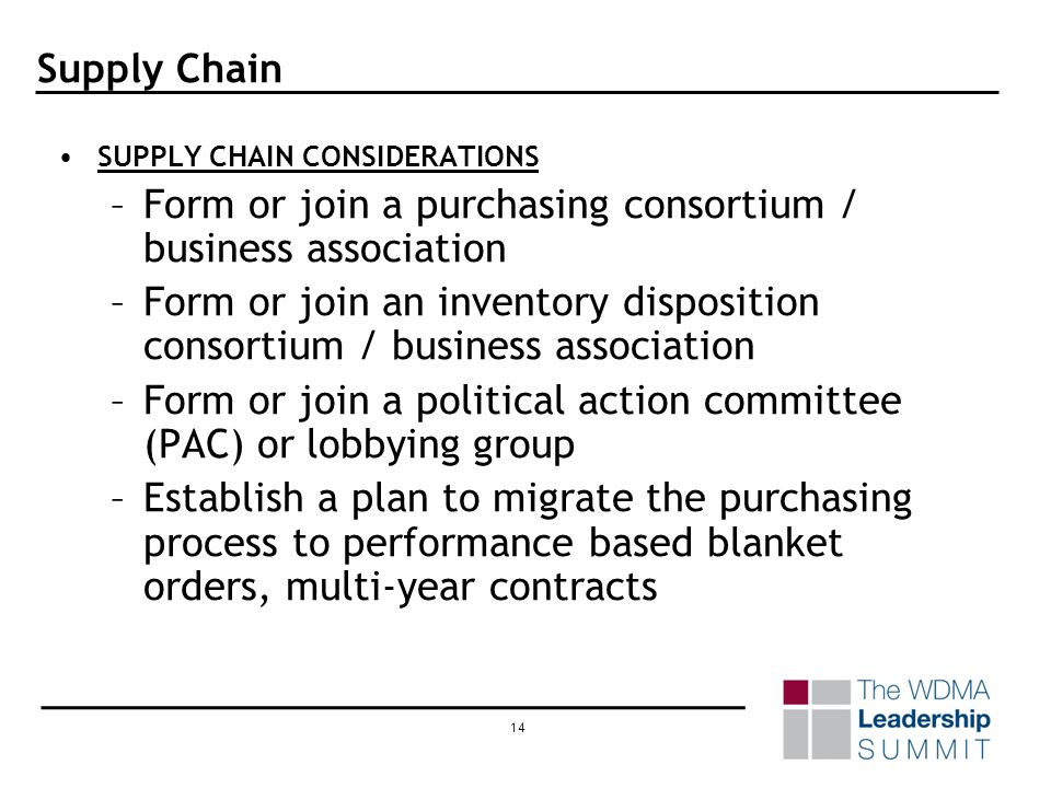 13 Supply Chain SUPPLY CHAIN ABSOLUTES (Contd) –Determine inventory carrying / ownership costs (Contd) Loss and shrinkage 3.5% Material handling 1.8% Inventory control 1.5% Federal / state asset tax 1.5 National average 32.5% Range was 25 to 40%