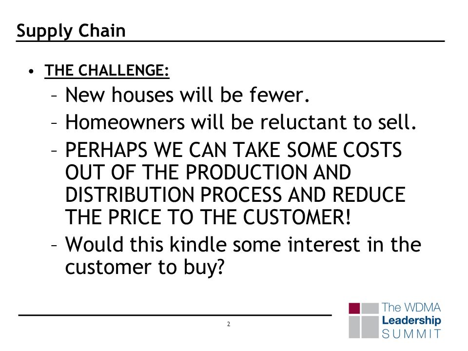 1 Supply Chain ABSTRACT ITEMS WORTH NOTE: –3 million jobs lost in homebuilding industry since 2005. –Housing starts down 34% in 2007 vs. 2005. –Real e