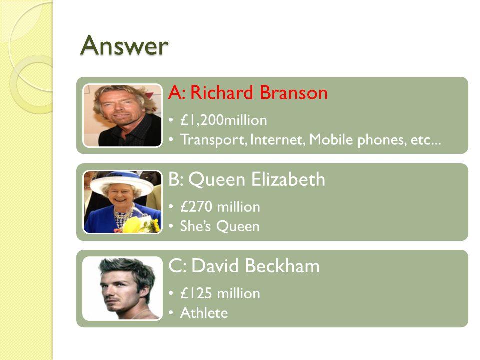 Answer A: Richard Branson £1,200million Transport, Internet, Mobile phones, etc... B: Queen Elizabeth £270 million Shes Queen C: David Beckham £125 mi