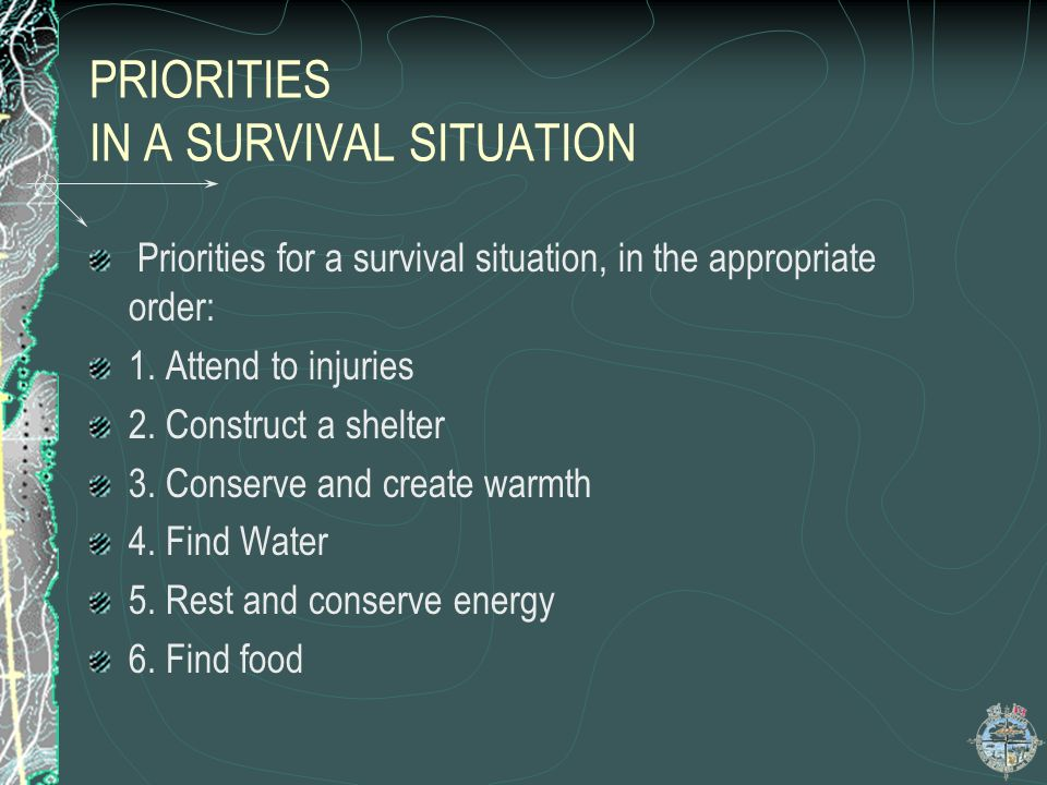PRIORITIES IN A SURVIVAL SITUATION The main enemy to survival is PANIC Remain calm and assess your resources, both in your pack and those provided by