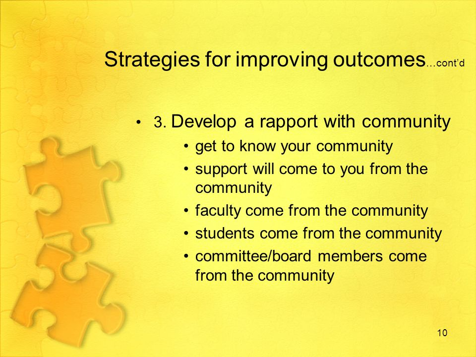 Strategies for improving outcomes …contd 4.