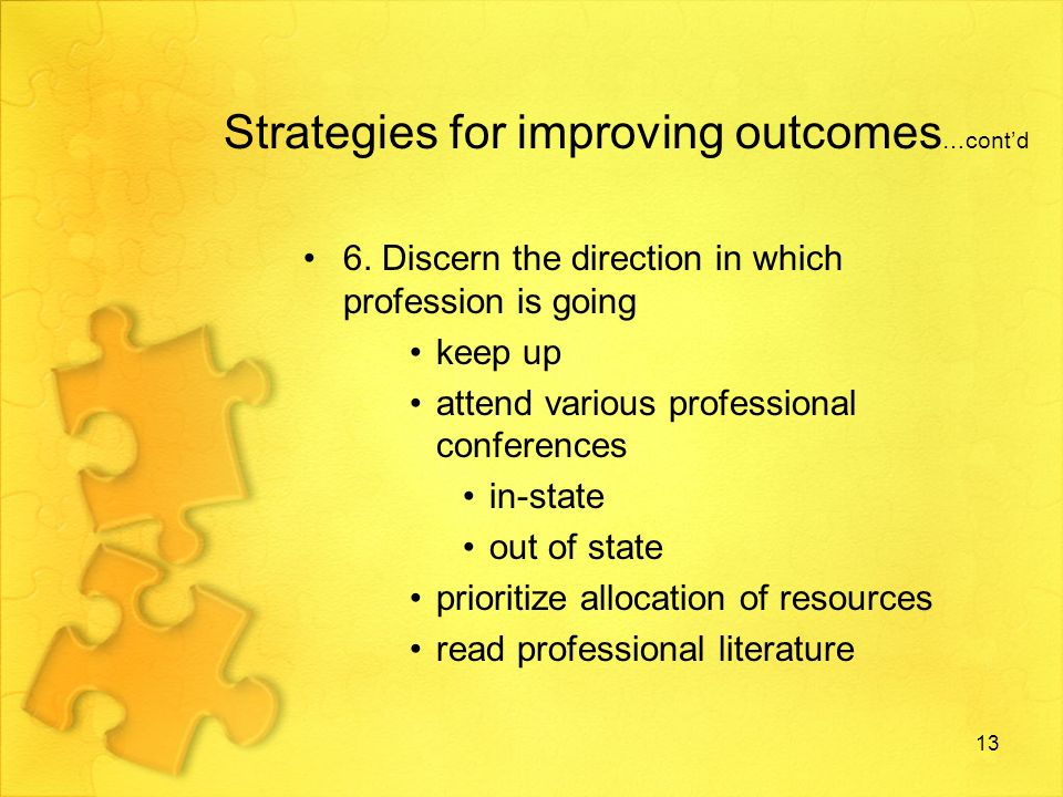 Strategies for improving outcomes …contd 7.