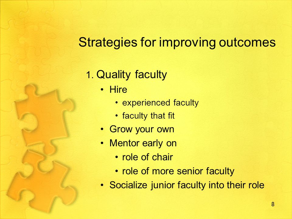 Strategies for improving outcomes …contd 2.