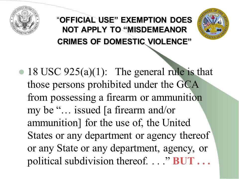 OFFICIAL USE EXEMPTION DOES NOT APPLY TO MISDEMEANOR CRIMES OF DOMESTIC VIOLENCEOFFICIAL USE EXEMPTION DOES NOT APPLY TO MISDEMEANOR CRIMES OF DOMESTI