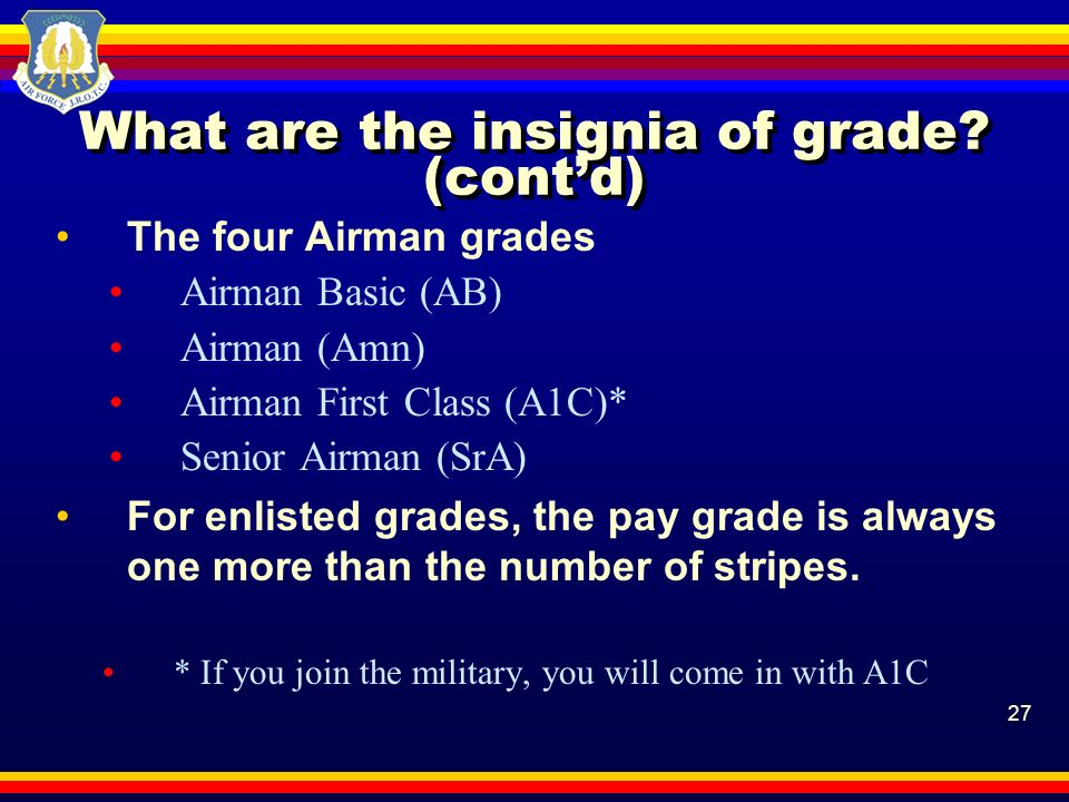 27 What are the insignia of grade? (contd) The four Airman grades Airman Basic (AB) Airman (Amn) Airman First Class (A1C)* Senior Airman (SrA) For enl