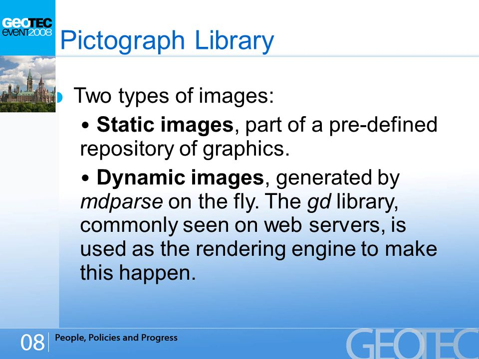 Pictograph Library Two types of images: Static images, part of a pre-defined repository of graphics.