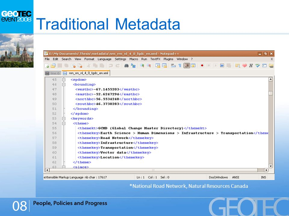 Traditional Metadata *National Road Network, Natural Resources Canada
