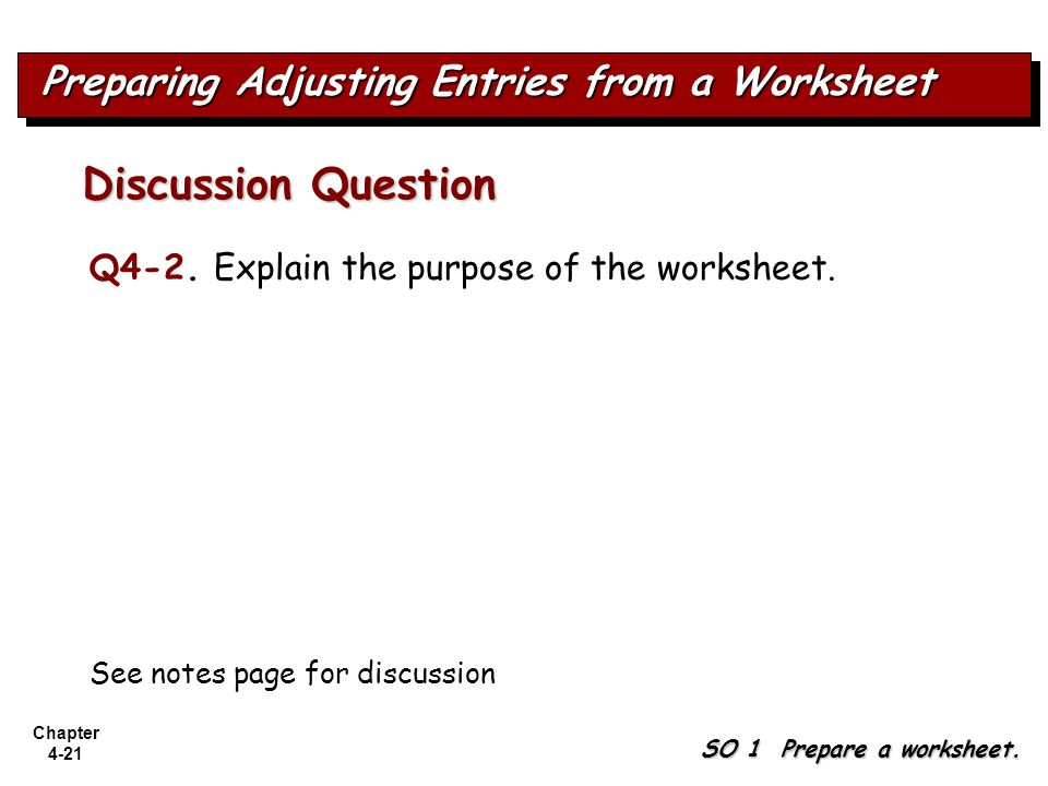 Chapter 4-21 Q4-2. Explain the purpose of the worksheet. Discussion Question See notes page for discussion Preparing Adjusting Entries from a Workshee