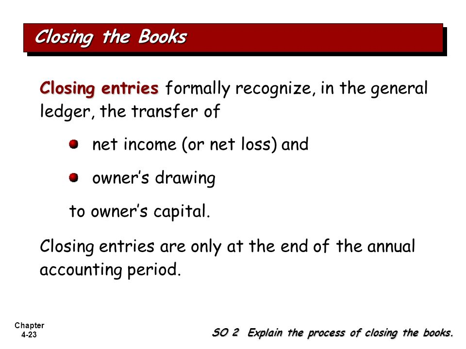 Chapter 4-23 Closing entries Closing entries formally recognize, in the general ledger, the transfer of net income (or net loss) and owners drawing to