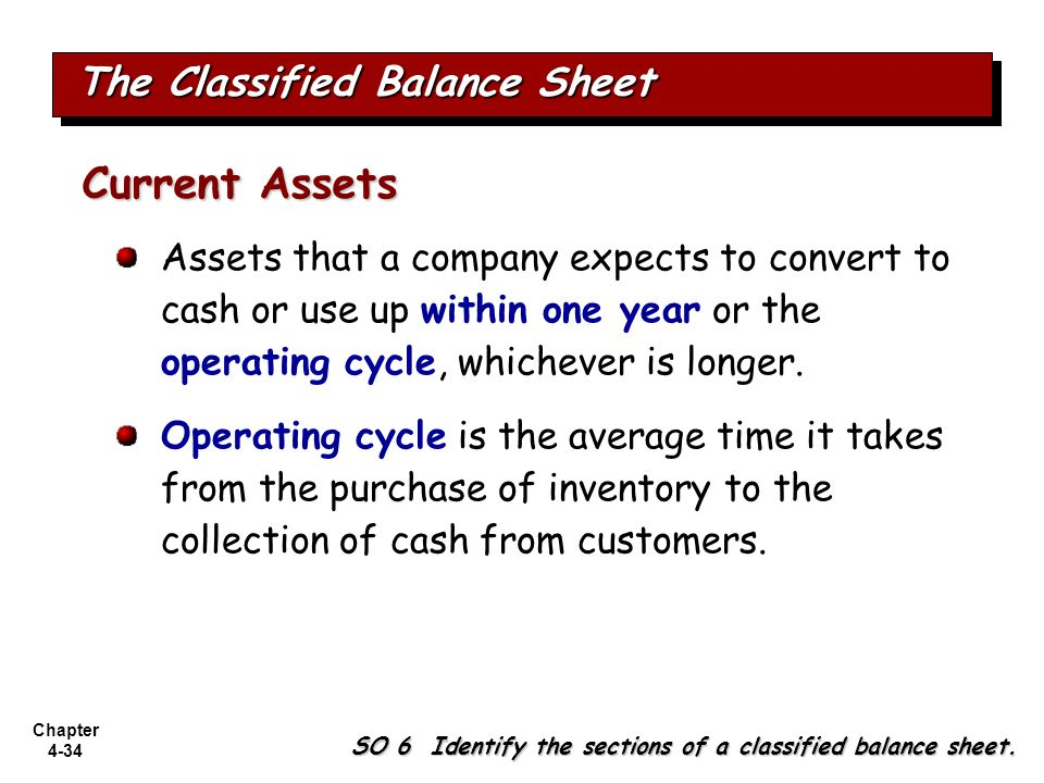 Chapter 4-34 The Classified Balance Sheet SO 6 Identify the sections of a classified balance sheet. Assets that a company expects to convert to cash o