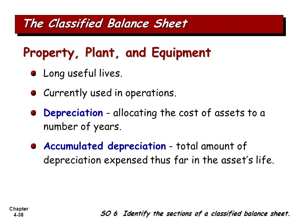 Chapter 4-38 The Classified Balance Sheet SO 6 Identify the sections of a classified balance sheet. Long useful lives. Currently used in operations. D