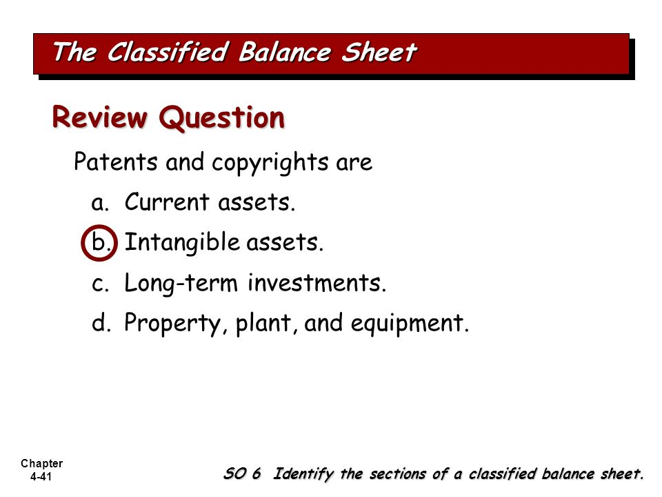 Chapter 4-41 Patents and copyrights are a.Current assets. b.Intangible assets. c.Long-term investments. d.Property, plant, and equipment. Review Quest
