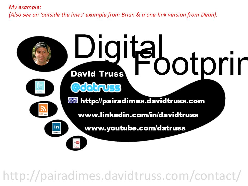 David Truss http://pairadimes.davidtruss.com www.linkedin.com/in/davidtruss www.youtube.com/datruss Digital Footprint: My example: (Also see an outside the lines example from Brian & a one-link version from Dean).