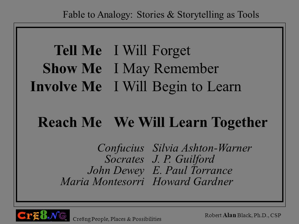 Fable to Analogy: Stories & Storytelling as Tools Cre8ng People, Places & Possibilities Robert Alan Black, Ph.D., CSP Silvia Ashton-Warner J. P. Guilf
