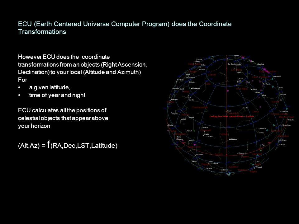 ECU (Earth Centered Universe Computer Program) does the Coordinate Transformations However ECU does the coordinate transformations from an objects (Ri