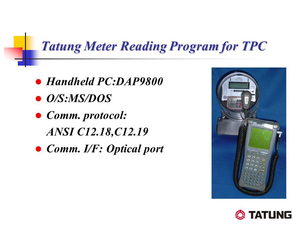 Tatung Meter Reading Program for TPC Handheld PC:DAP9800 O/S:MS/DOS Comm. protocol: ANSI C12.18,C12.19 Comm. I/F: Optical port