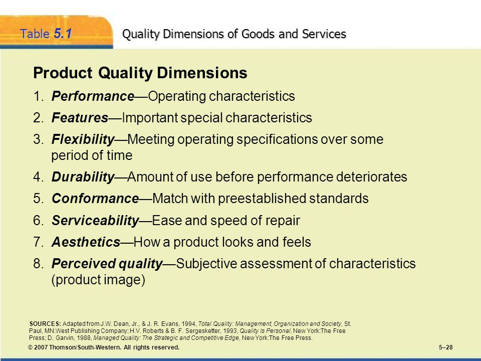© 2007 Thomson/South-Western. All rights reserved. 5–28 Table 5.1 Quality Dimensions of Goods and Services Product Quality Dimensions 1.PerformanceOpe
