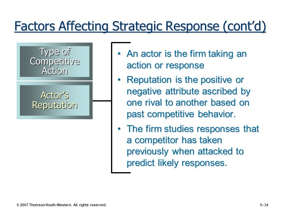 © 2007 Thomson/South-Western. All rights reserved. 5–34 Factors Affecting Strategic Response (contd) An actor is the firm taking an action or response