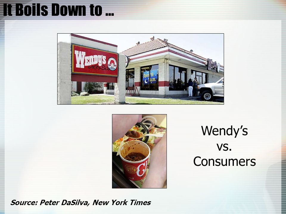 It Boils Down to … Wendys vs. Consumers Source: Peter DaSilva, New York Times