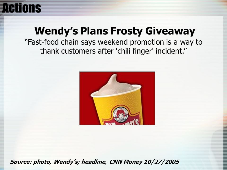 Actions Source: photo, Wendys; headline, CNN Money 10/27/2005 Wendys Plans Frosty Giveaway Fast-food chain says weekend promotion is a way to thank cu