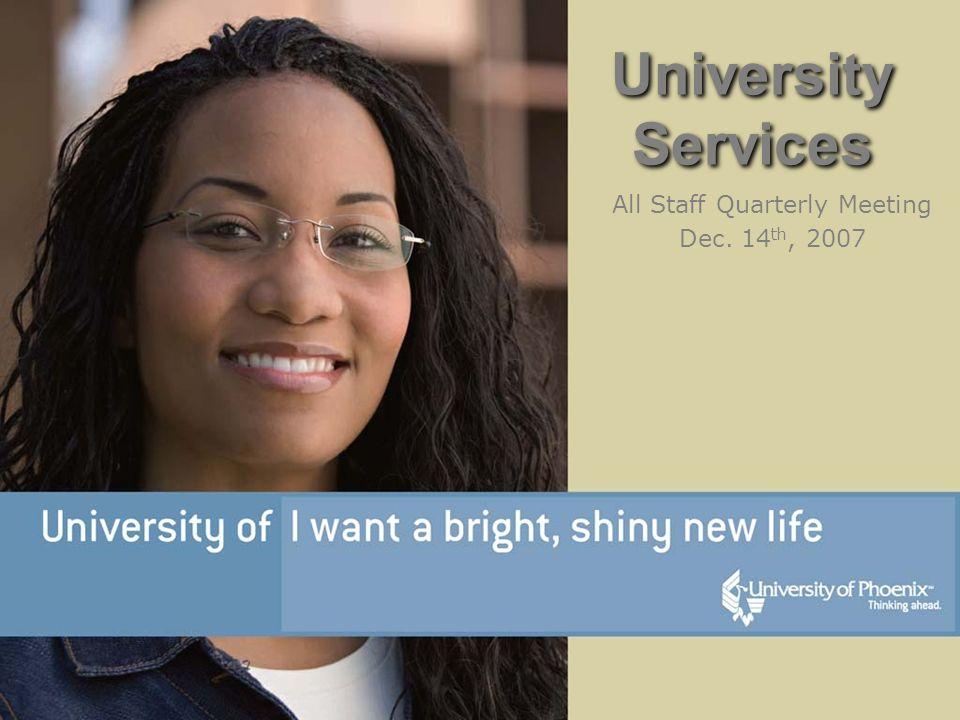 University Services All Staff Quarterly Meeting Dec. 14 th, 2007