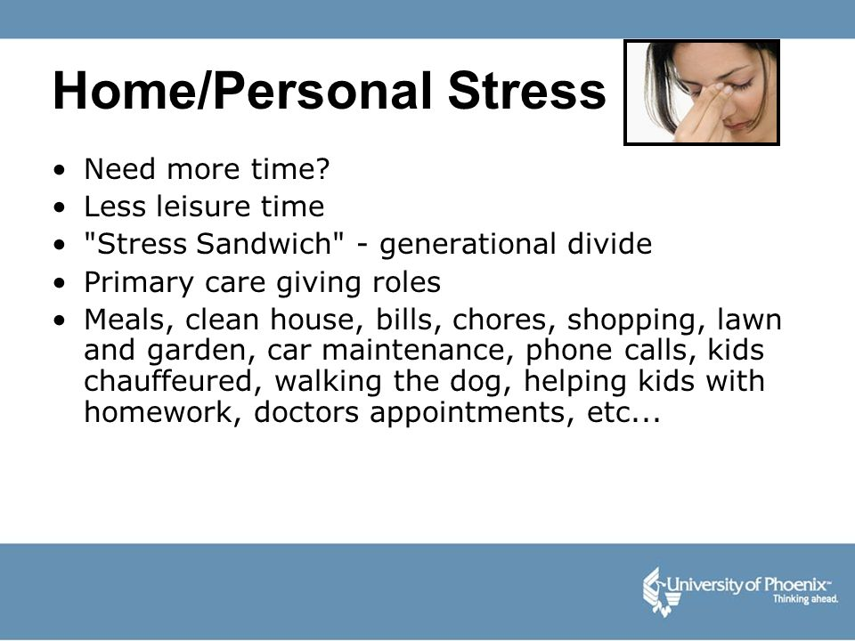Home/Personal Stress Need more time? Less leisure time