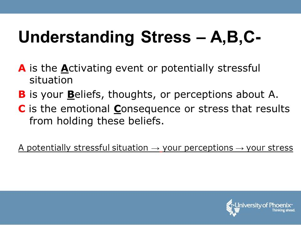 Understanding Stress – A,B,C- A is the Activating event or potentially stressful situation B is your Beliefs, thoughts, or perceptions about A. C is t